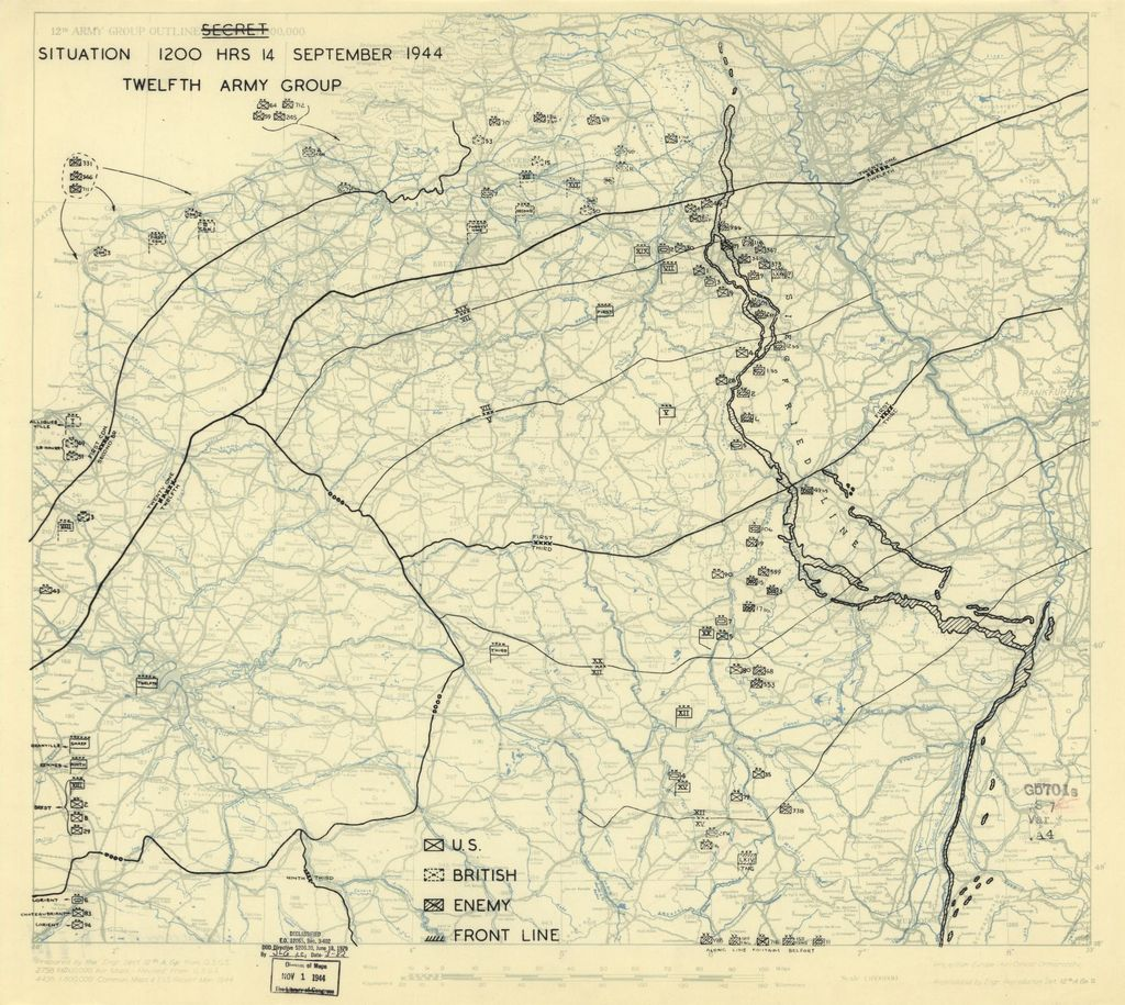 [September 14, 1944], HQ Twelfth Army Group situation map.