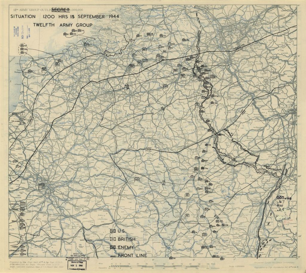[September 15, 1944], HQ Twelfth Army Group situation map.