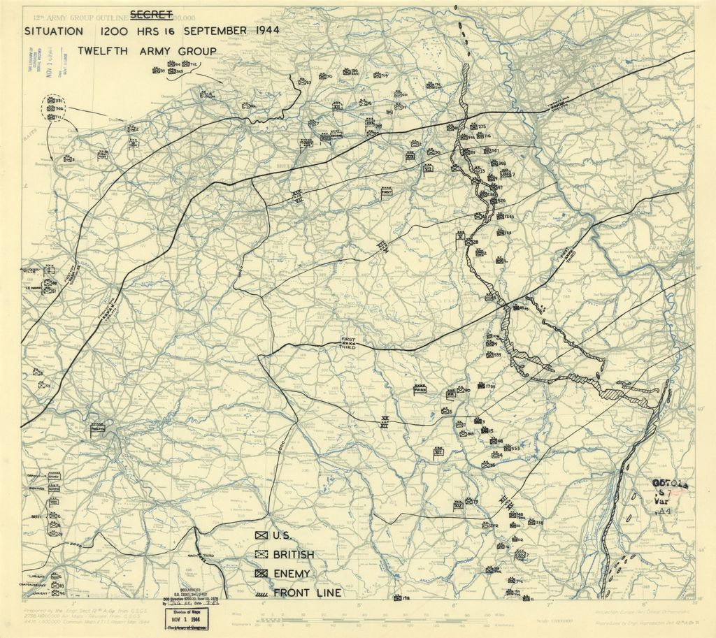 [September 16, 1944], HQ Twelfth Army Group situation map.