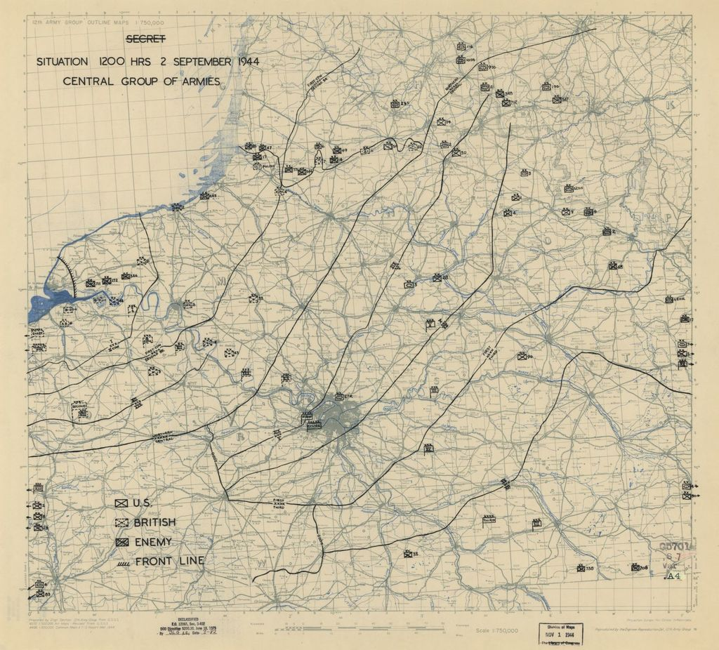 [September 2, 1944], HQ Twelfth Army Group situation map.