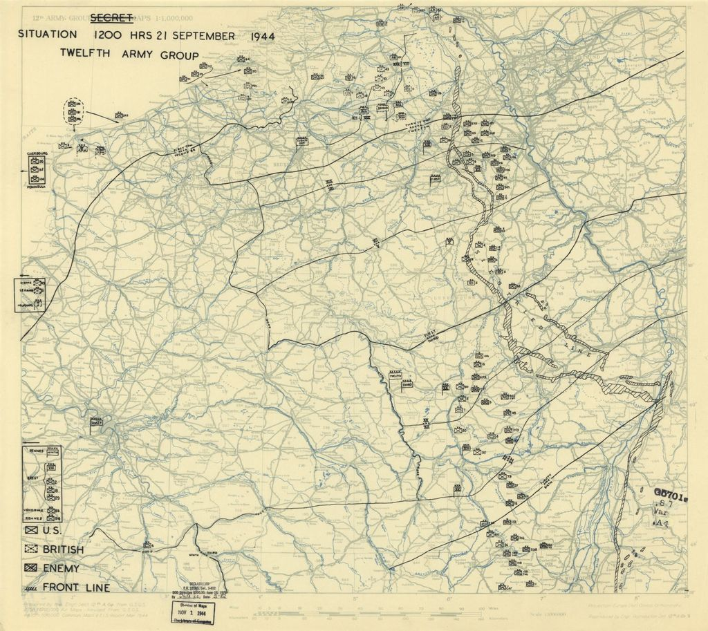 [September 21, 1944], HQ Twelfth Army Group situation map.