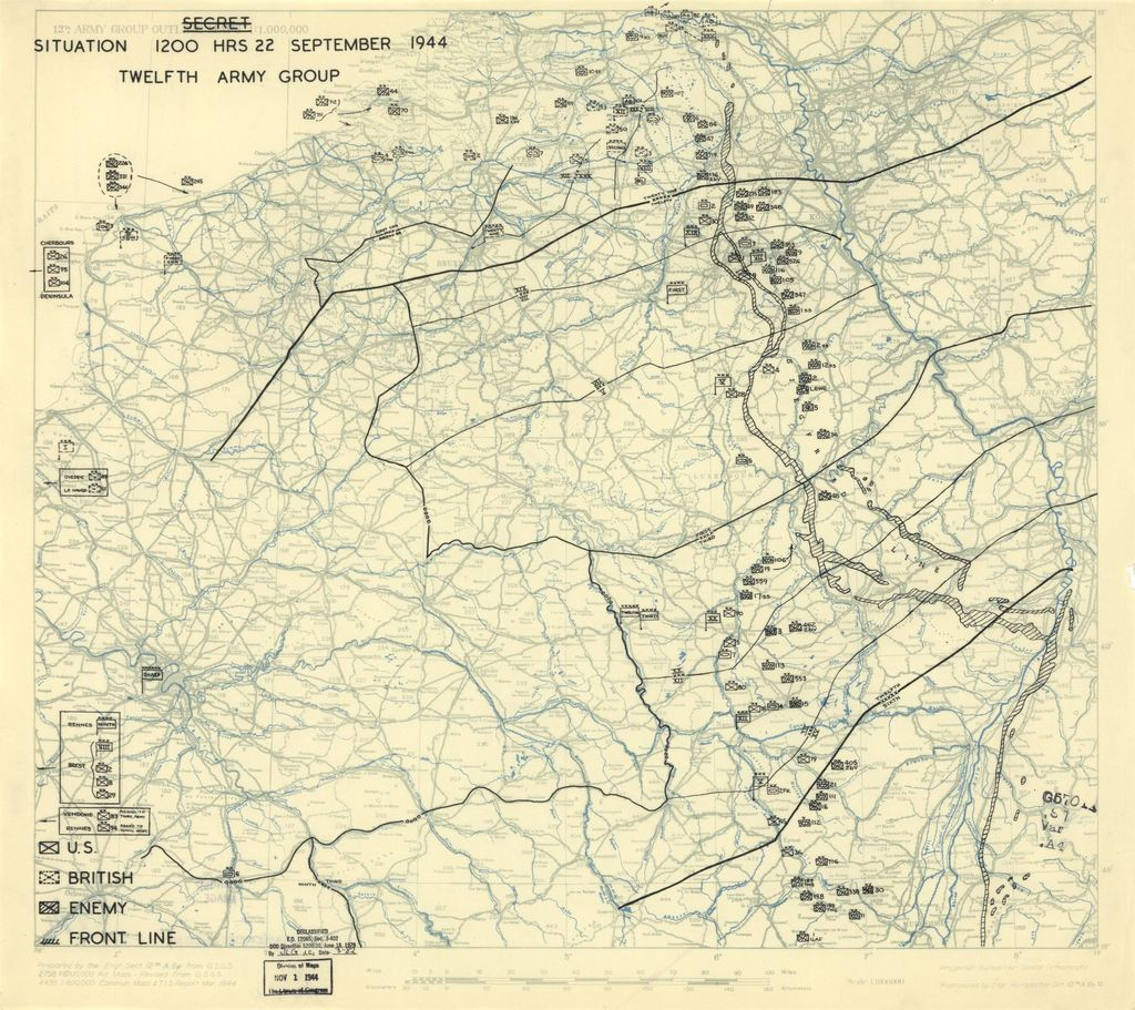 [September 22, 1944], HQ Twelfth Army Group situation map.
