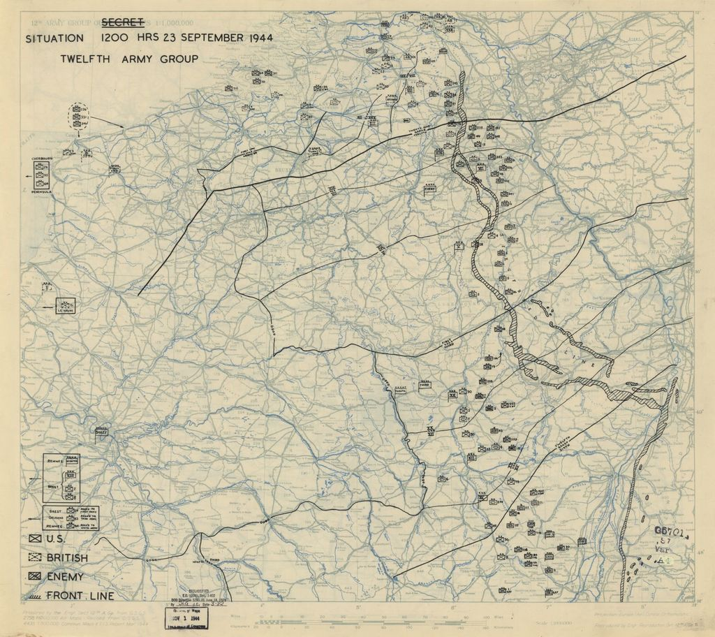 [September 23, 1944], HQ Twelfth Army Group situation map.