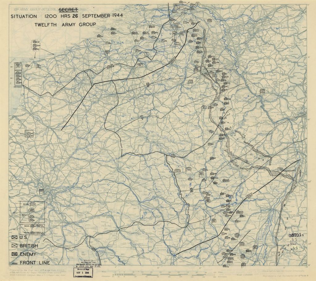 [September 26, 1944], HQ Twelfth Army Group situation map.