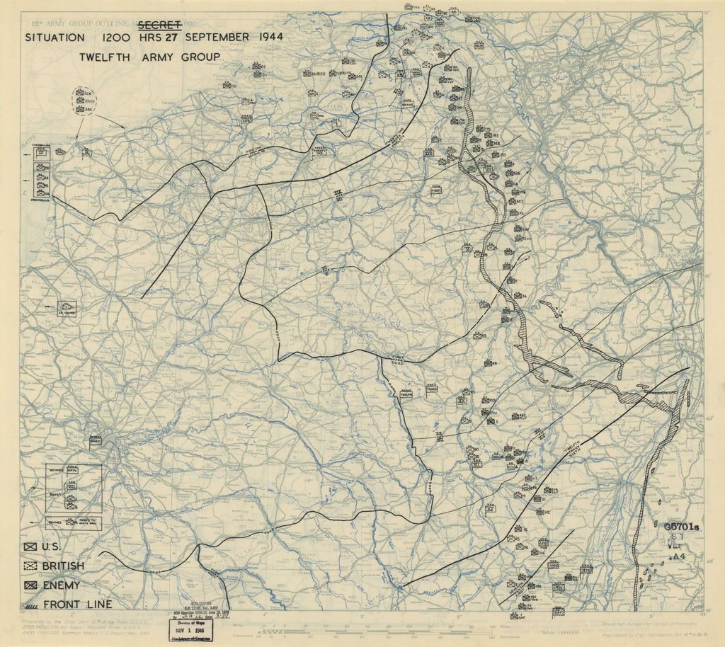 [September 27, 1944], HQ Twelfth Army Group situation map.