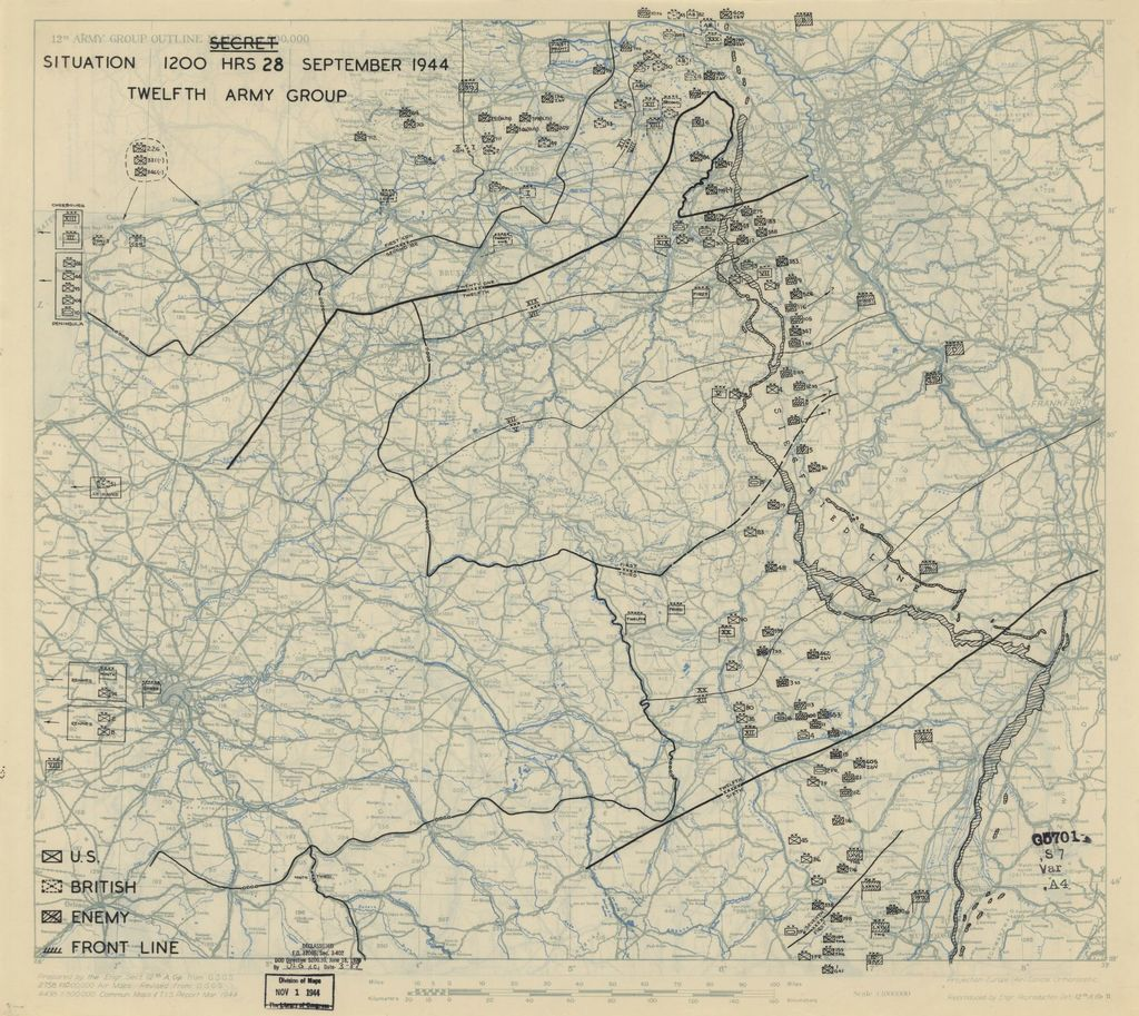 [September 28, 1944], HQ Twelfth Army Group situation map.