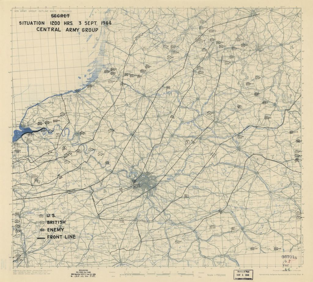 [September 3, 1944], HQ Twelfth Army Group situation map.