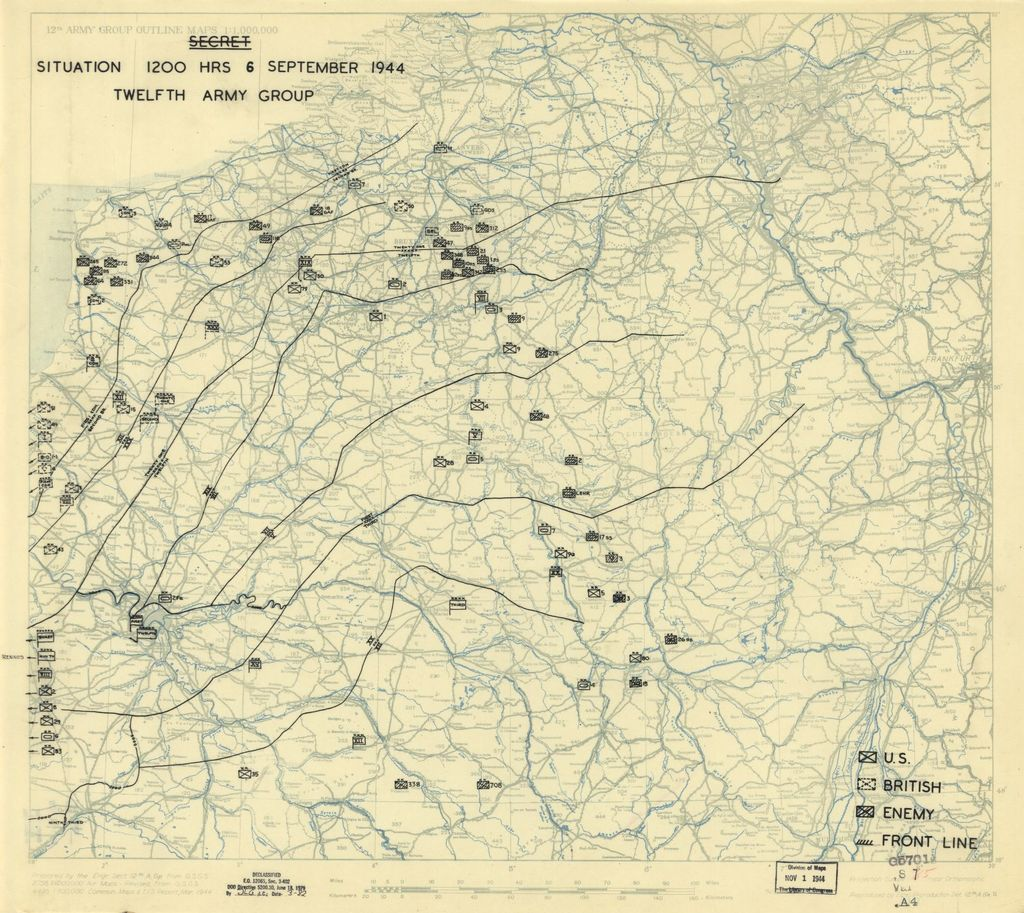 [September 6, 1944], HQ Twelfth Army Group situation map.