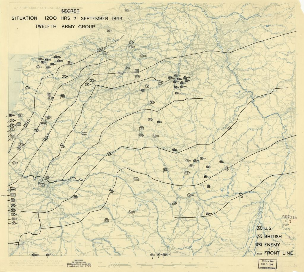 [September 7, 1944], HQ Twelfth Army Group situation map.