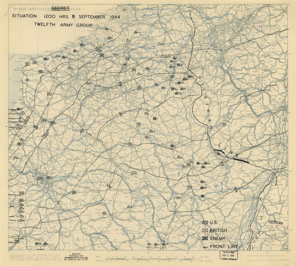 [September 8, 1944], HQ Twelfth Army Group situation map.