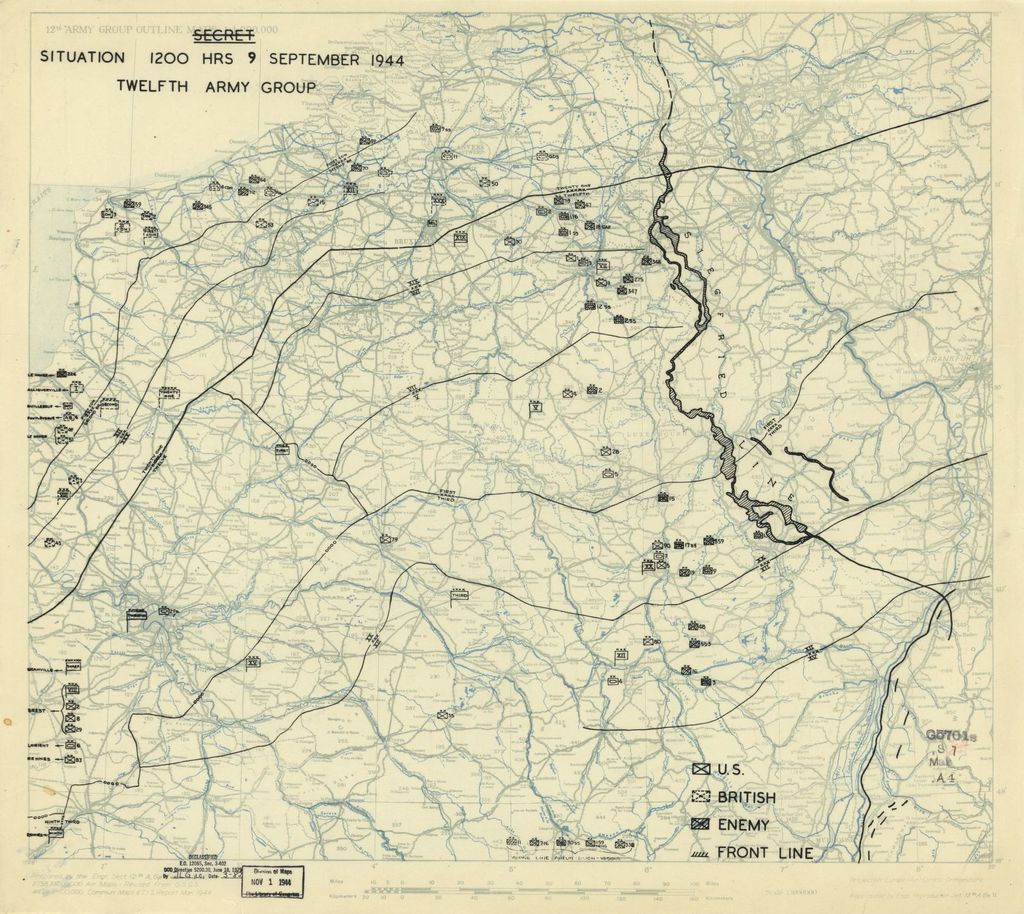 [September 9, 1944], HQ Twelfth Army Group situation map.