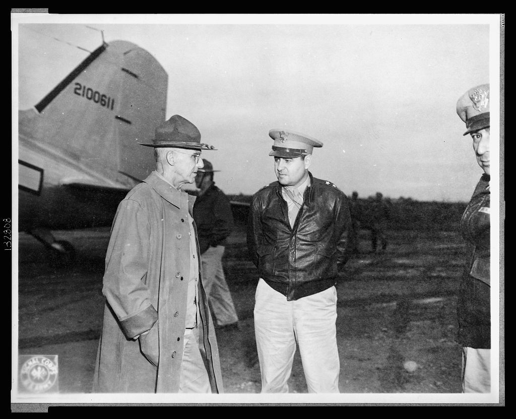 Somewhere in China. Oct. 11, 1944.  General Joseph W. Stilwell talking with Major General Curtis E. LeMay of the 20th Bomber command, at a B-29 base