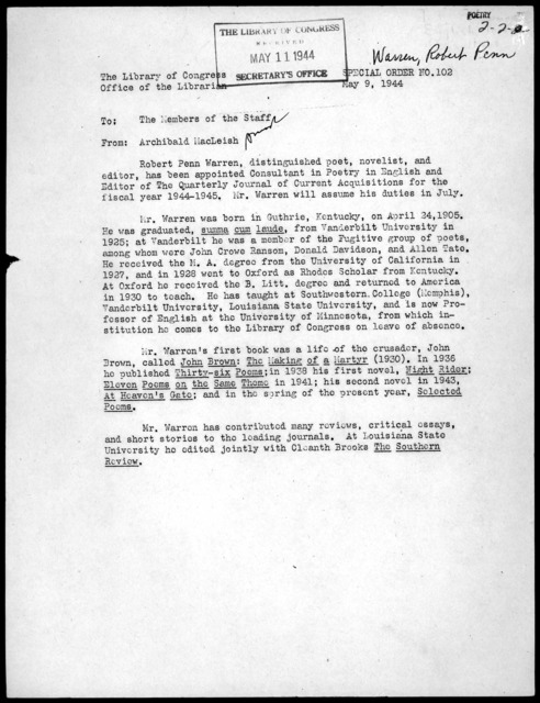 Special Order No. 102, Office of the Librarian, Library of Congress, May 9, 1944
