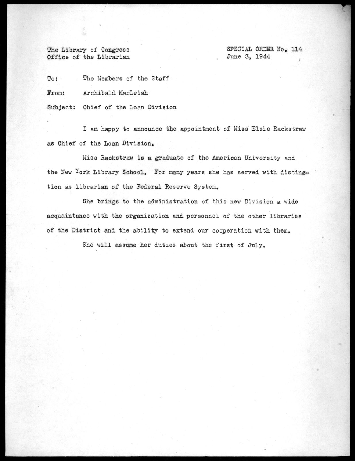 Special Order No. 114, Office of the Librarian, Library of Congress, June 3, 1944