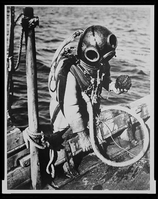 Tarpon Springs, Florida. A Greek-American deep sea sponge diver climbing back into the boat. He is holding a sponge in his hand