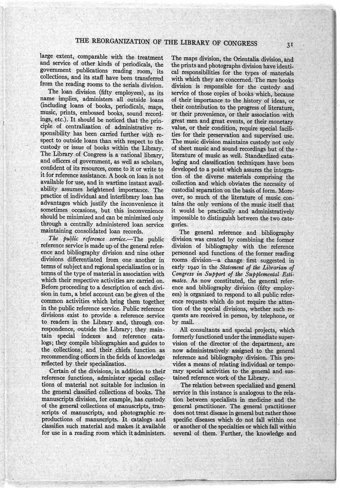 """""""The Reorganization of the Library of Congress, 1939-1944,"""" by Archibald MacLeish, The Library Quarterly, October 1944"""
