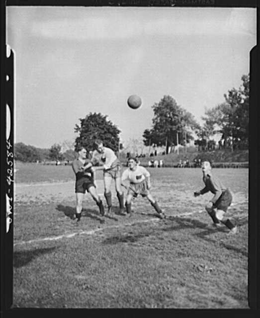 Travers Island, New York. Norwegian Independence Day celebration at the Norwegian gunners' school. Soccer