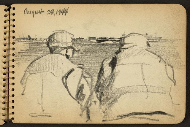 [Two soldiers looking out to sea]
