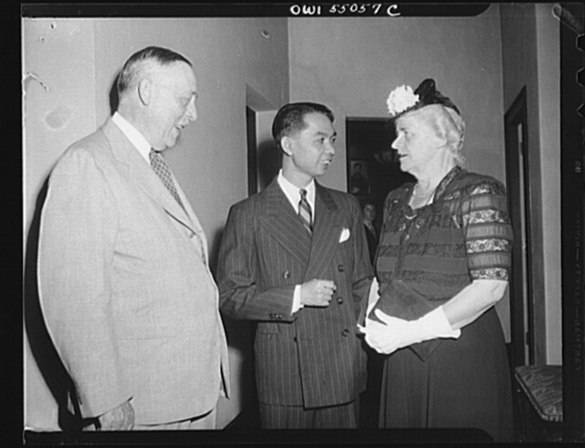 Washington, D.C. Present at an informal reception at the Thai Legation in celebration of the nineteenth birthday of King Anada of Thailand, who is currently residing in Switzerland, were, left to right, Dr. Eldon R. James, Foreign Affairs Advisor to the Advisor ro the Thailand government from 1918-1924, Thai Minister Rom Pramoj, and Mrs. James