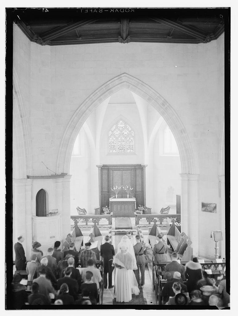 [Wedding ceremony in church, Dawkins Anderson wedding]