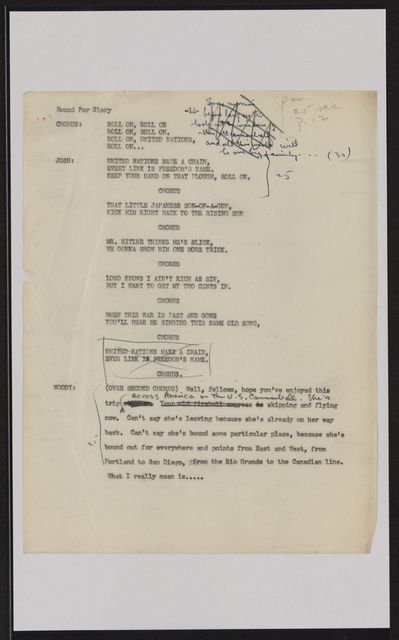 Alan Lomax Collection, Manuscripts, Armed Forces Radio, Bound For Glory