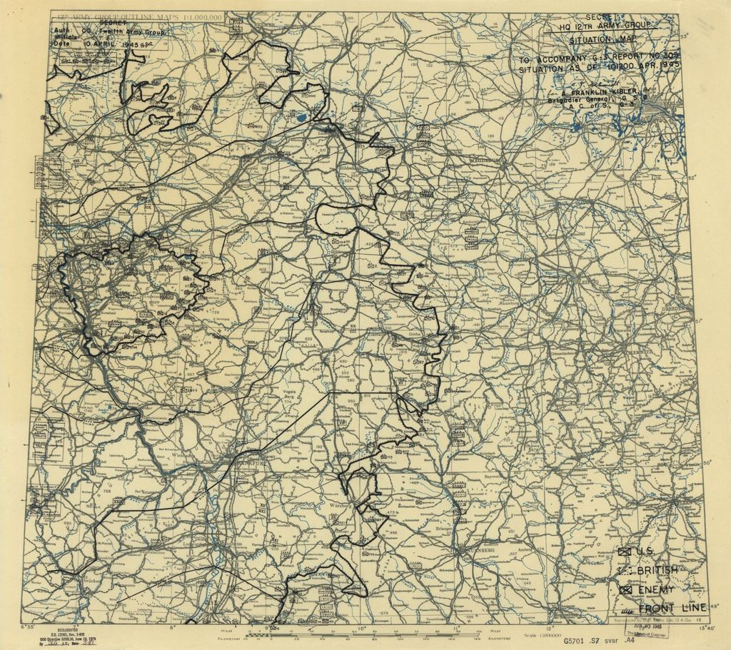 [April 10, 1945], HQ Twelfth Army Group situation map.