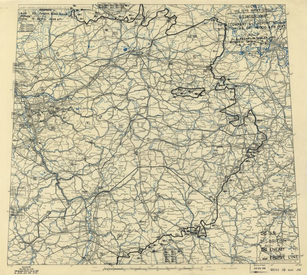 [April 18, 1945], HQ Twelfth Army Group situation map.