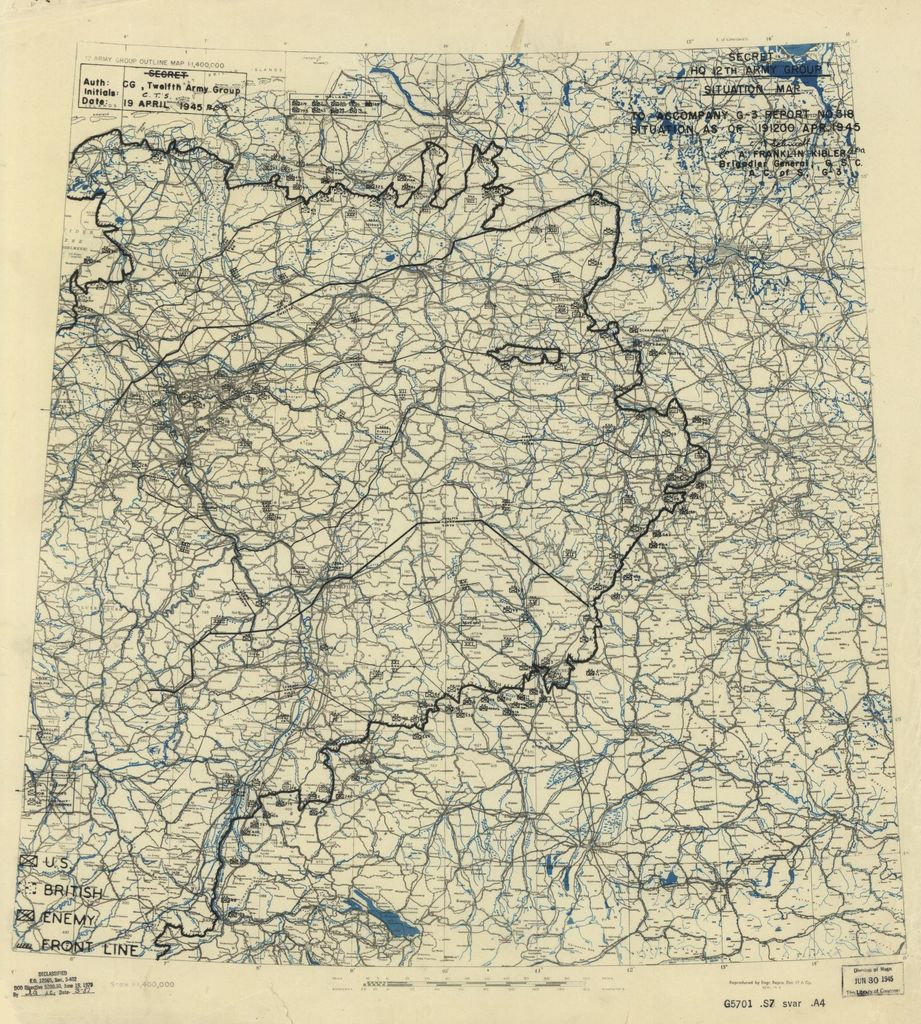 [April 19, 1945], HQ Twelfth Army Group situation map.