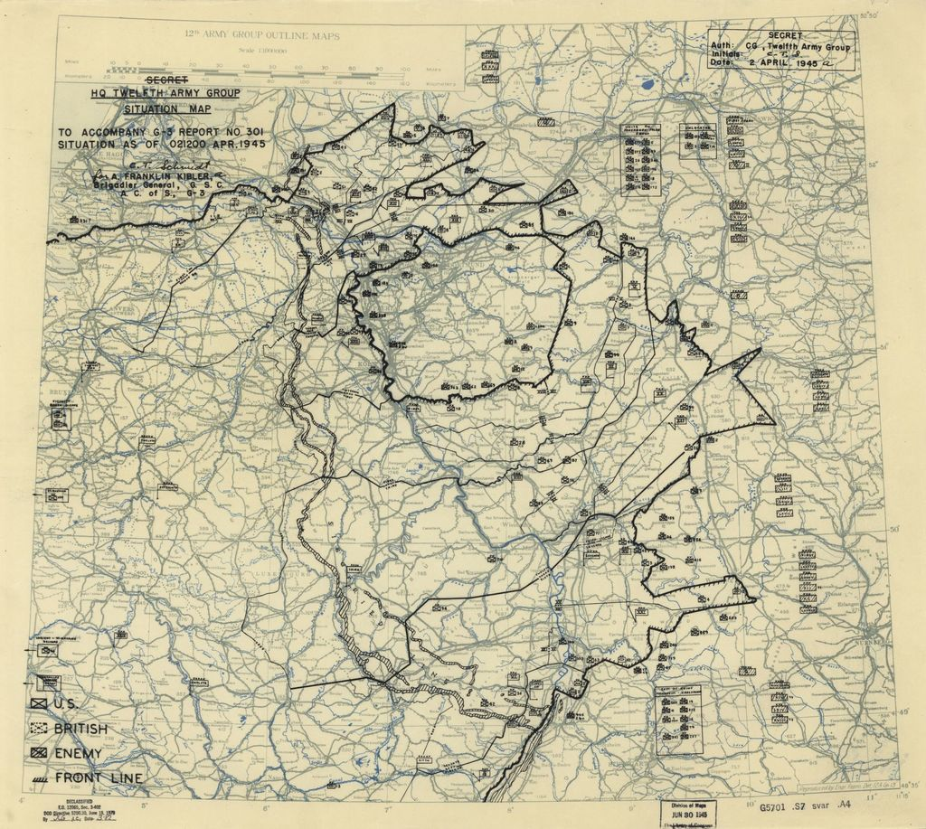 [April 2, 1945], HQ Twelfth Army Group situation map.