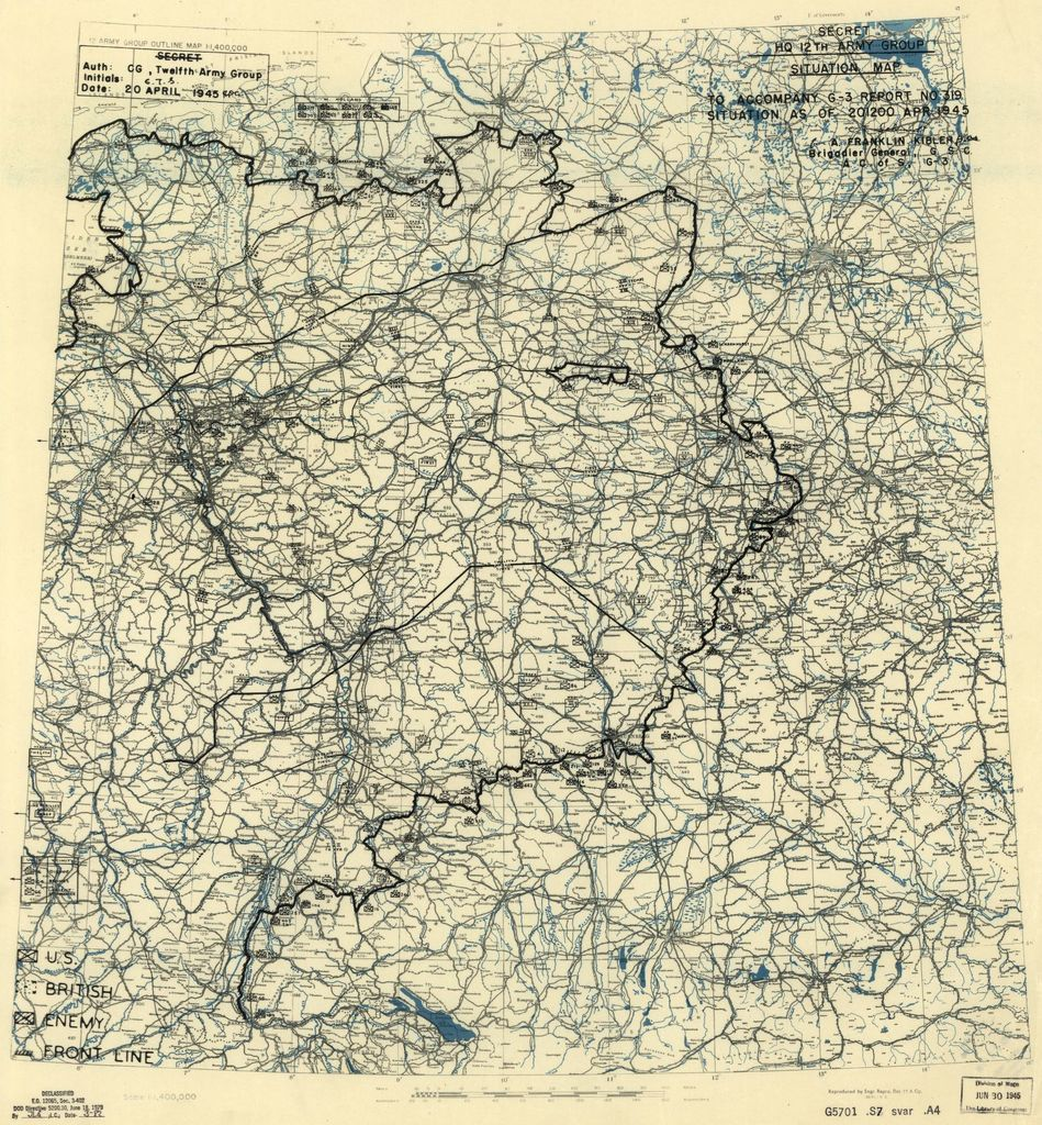[April 20, 1945], HQ Twelfth Army Group situation map.