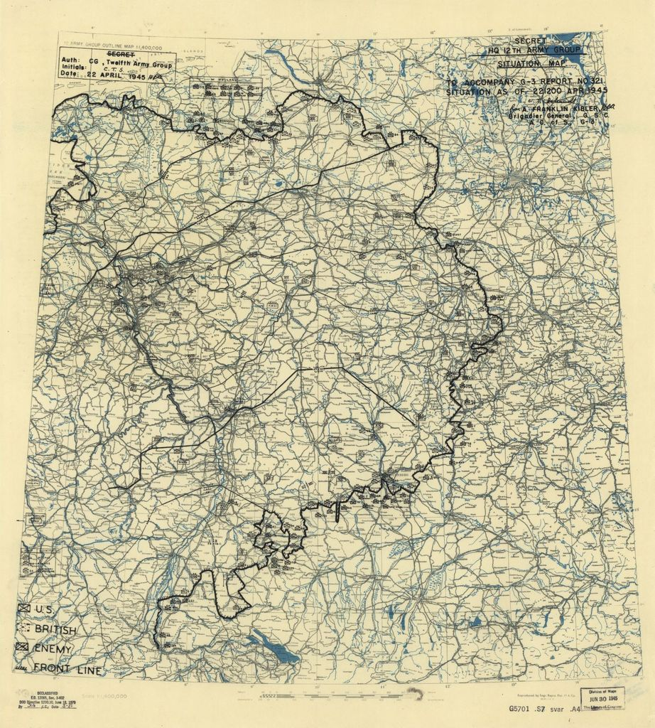 [April 22, 1945], HQ Twelfth Army Group situation map.