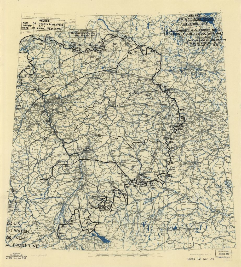 [April 23, 1945], HQ Twelfth Army Group situation map.