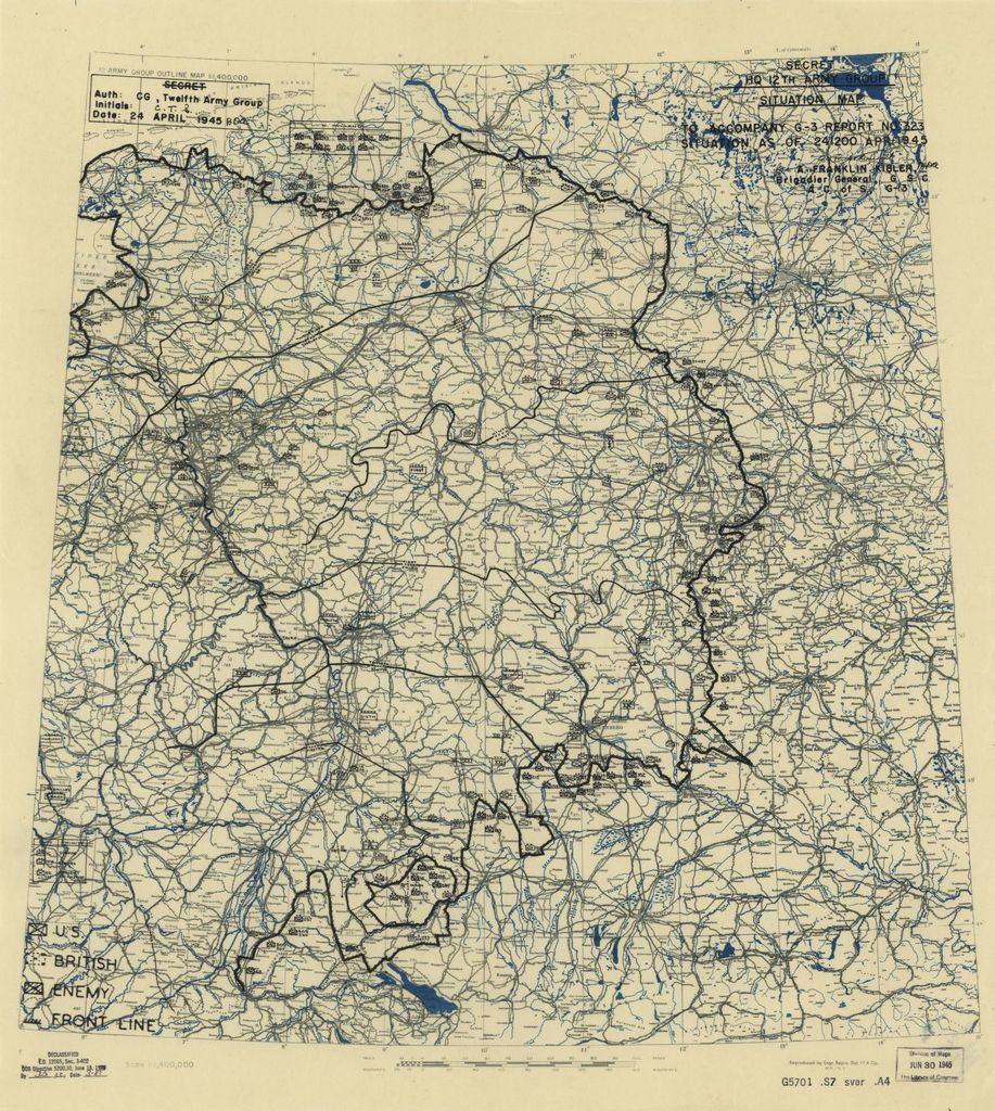 [April 24, 1945], HQ Twelfth Army Group situation map.
