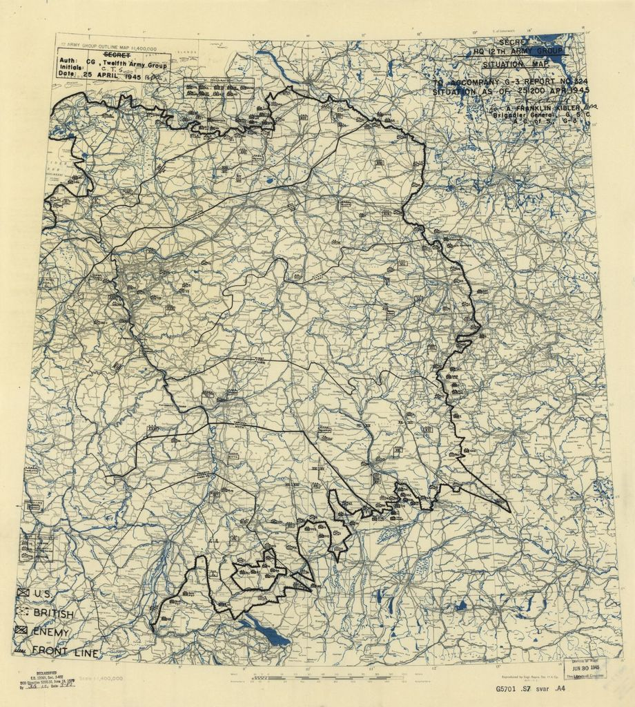 [April 25, 1945], HQ Twelfth Army Group situation map.