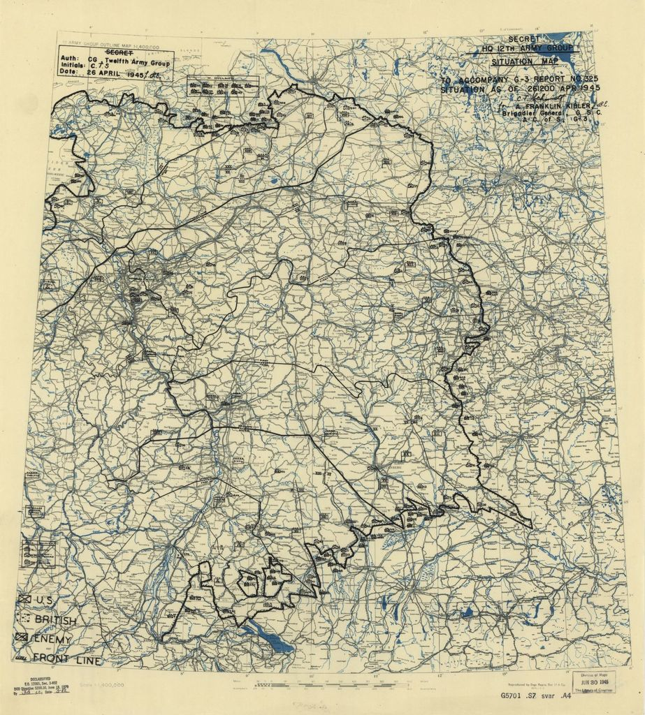 [April 26, 1945], HQ Twelfth Army Group situation map.