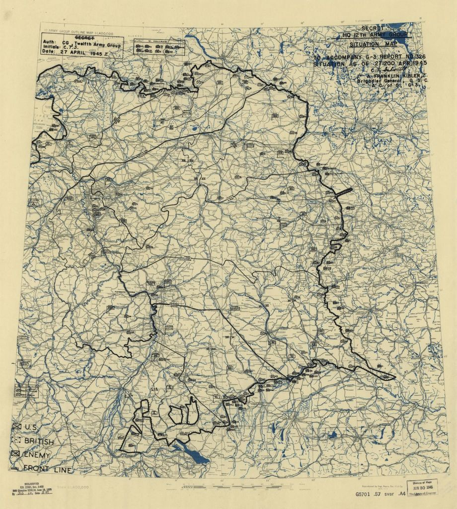 [April 27, 1945], HQ Twelfth Army Group situation map.