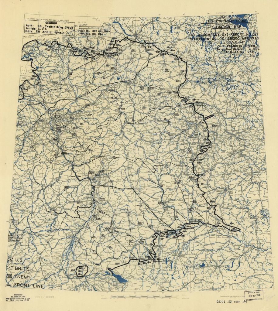 [April 28, 1945], HQ Twelfth Army Group situation map.