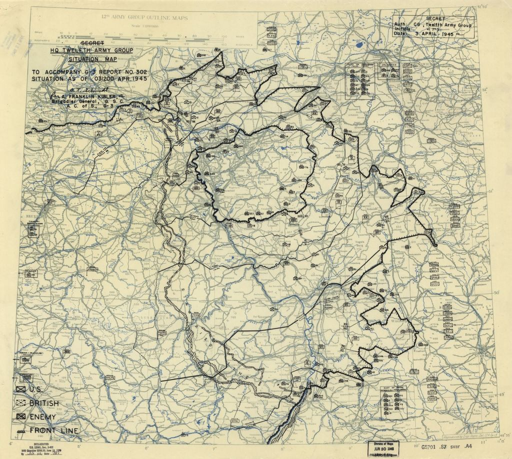 [April 3, 1945], HQ Twelfth Army Group situation map.