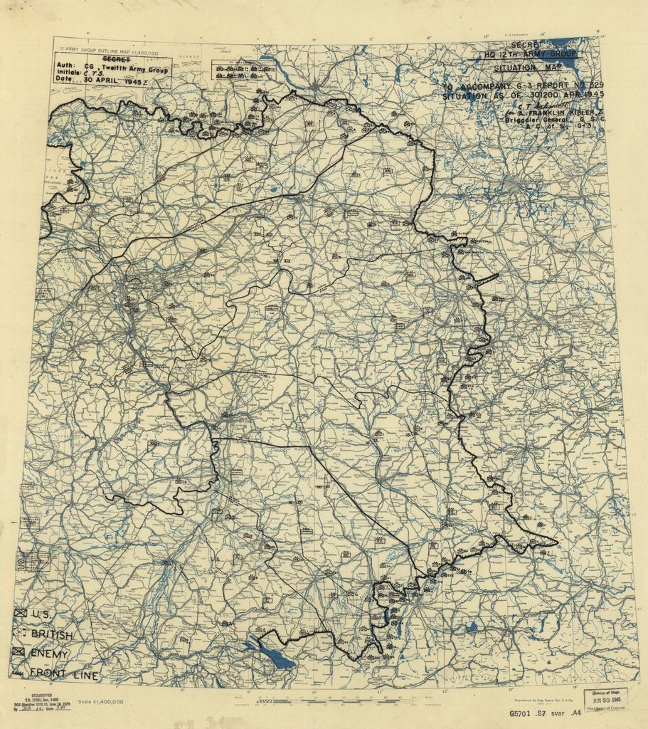 [April 30, 1945], HQ Twelfth Army Group situation map.