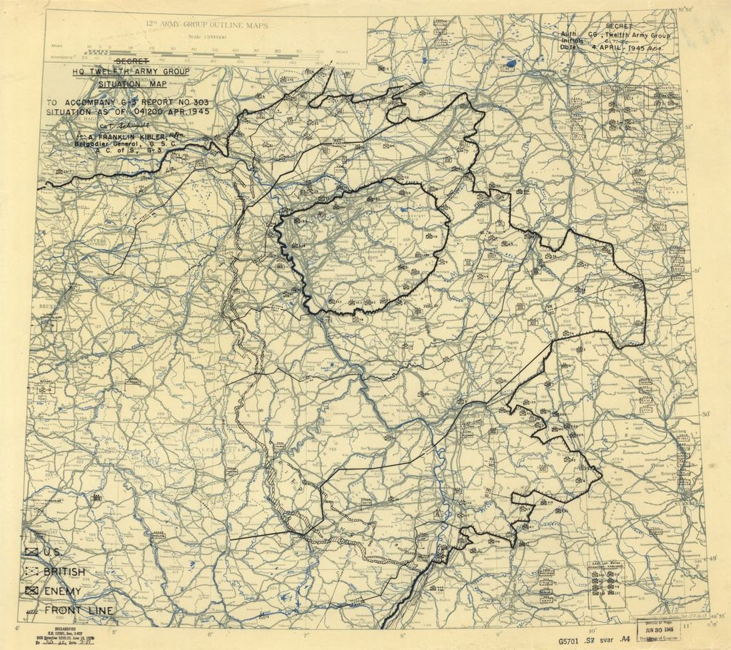 [April 4, 1945], HQ Twelfth Army Group situation map.