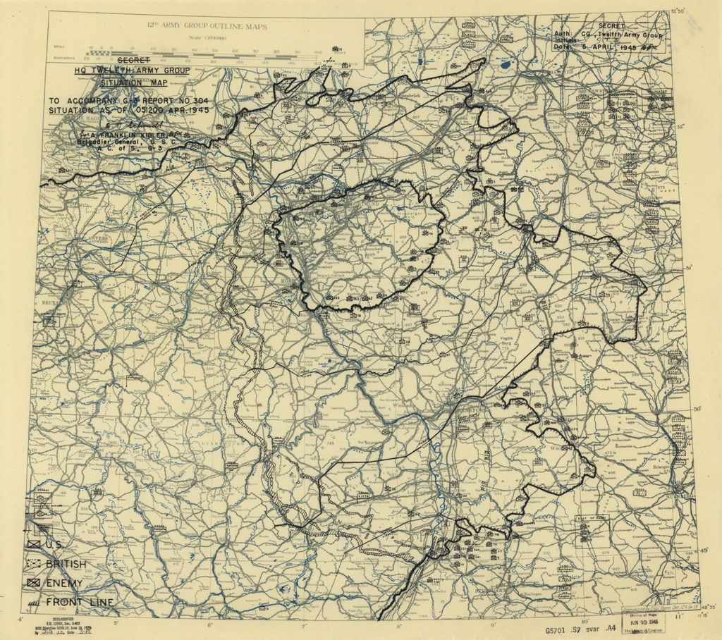 [April 5, 1945], HQ Twelfth Army Group situation map.