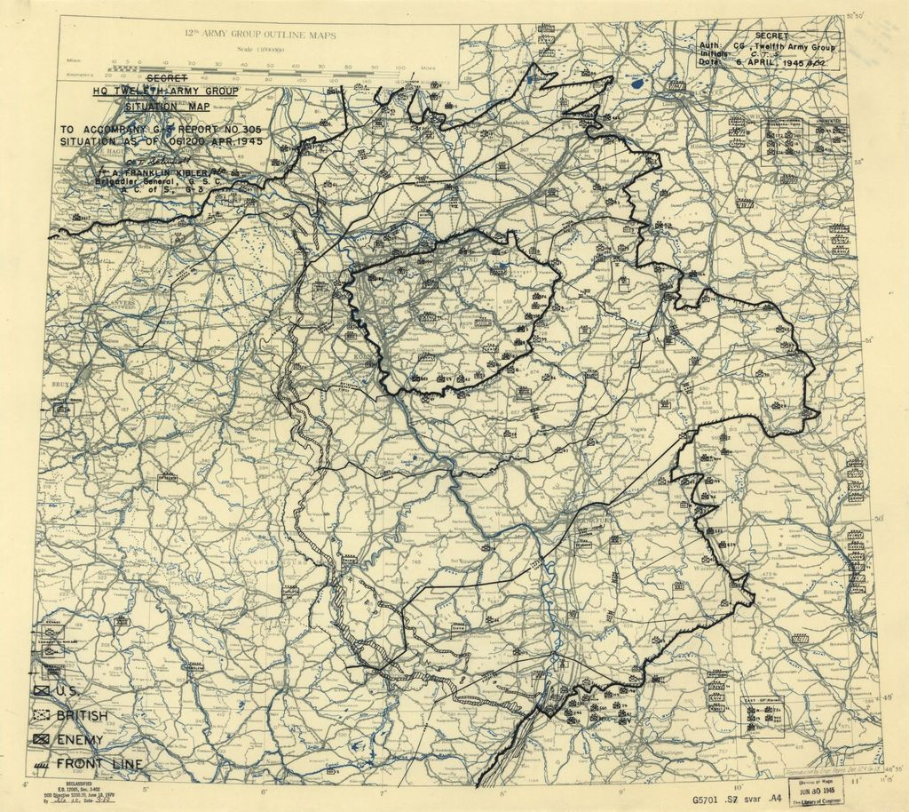 [April 6, 1945], HQ Twelfth Army Group situation map.