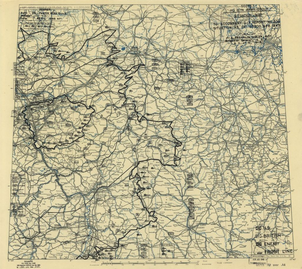 [April 7, 1945], HQ Twelfth Army Group situation map.