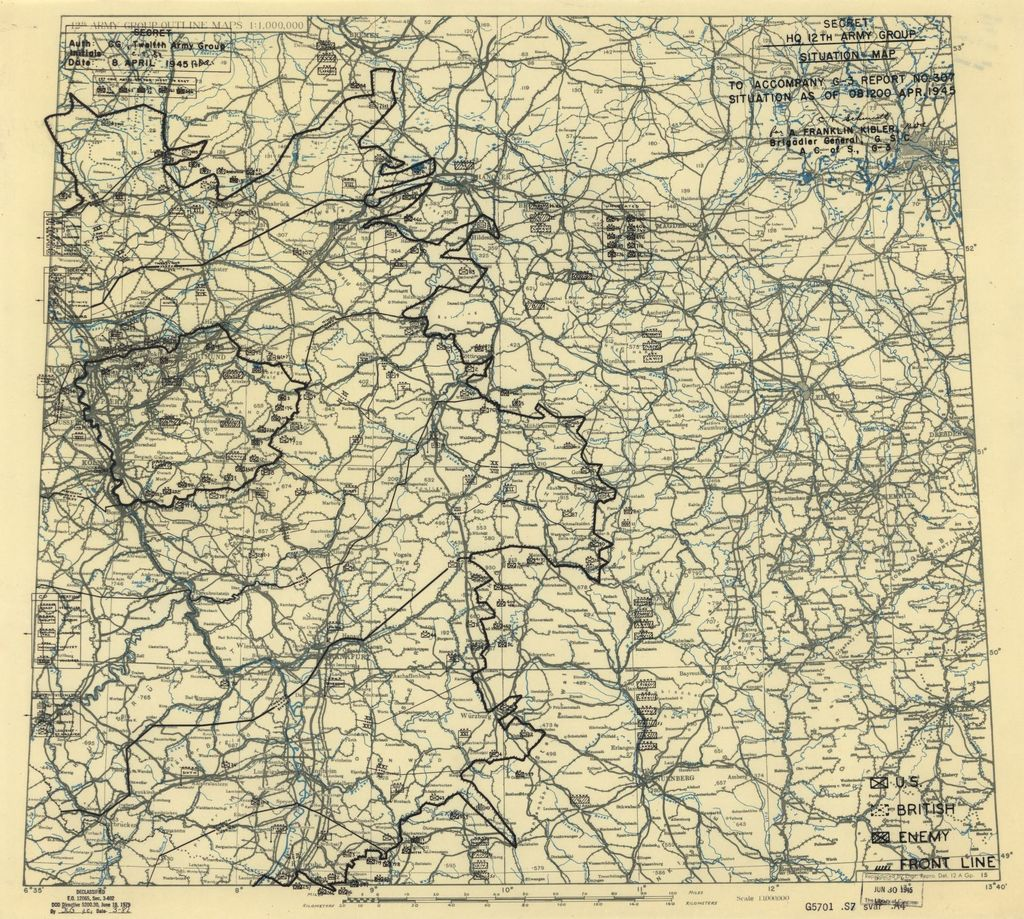 [April 8, 1945], HQ Twelfth Army Group situation map.