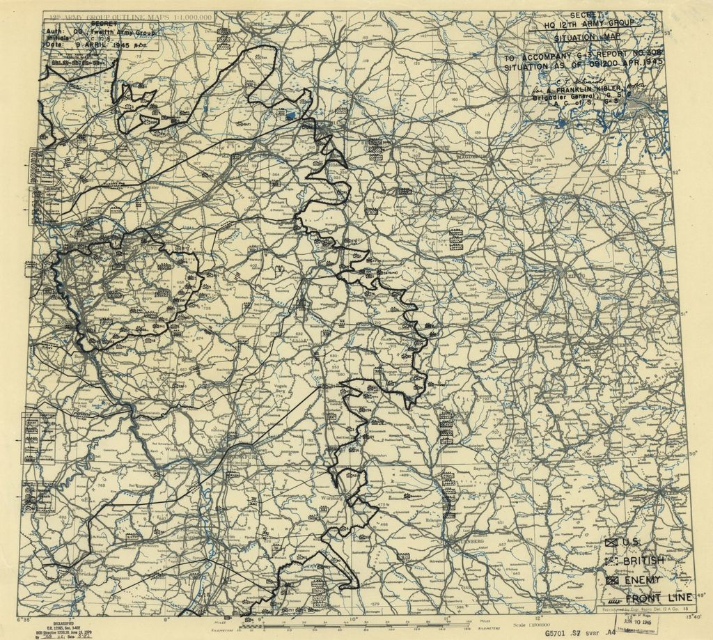 [April 9, 1945], HQ Twelfth Army Group situation map.