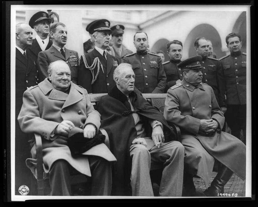 Crimean Conference--Prime Minister Winston Churchill, President Franklin D. Roosevelt, and Marshal Joseph Stalin at the palace in Yalta, where the Big Three met / /U.S. Signal Corps photo.
