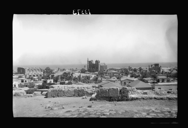 Cyprus. Famagusta. The old town showing, left: St. Peter & St. Paul, centre St. Nicholas, right St. George of the Greeks