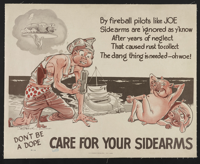 Don't be a dope - care for your sidearms By fireball pilots like Joe, sidearms are ignored as y'know. After years of neglect that caused rust to collect the dang thing is needed - oh woe! / / Warrant Off. Will Eisner, Ordnance.