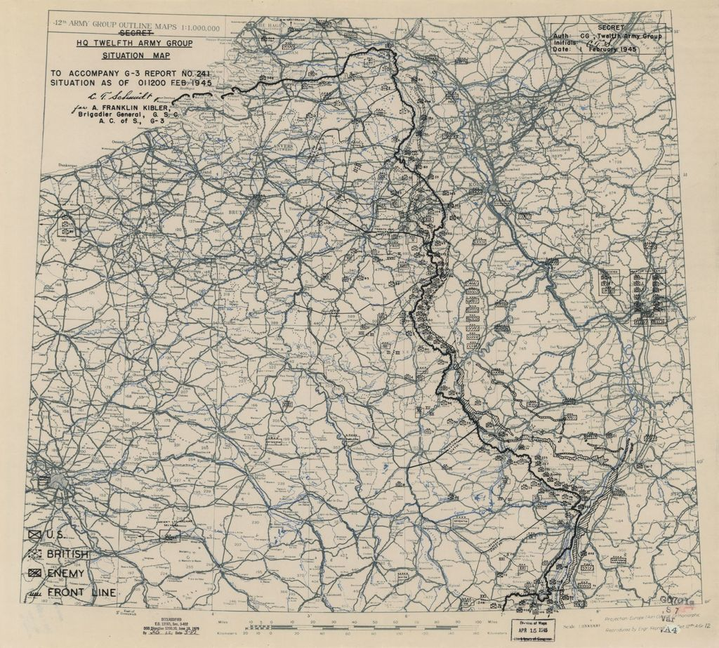 [February 1, 1945], HQ Twelfth Army Group situation map.