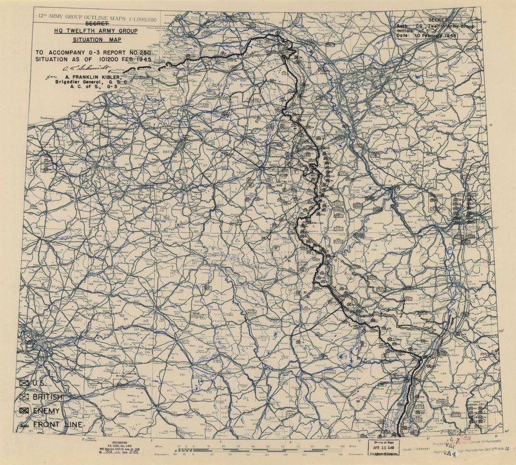 [February 10, 1945], HQ Twelfth Army Group situation map.